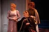 Production still from The Rep's production of Sense and Sensibility.  (l to r) Nancy Lemenager as Elinor, Penny Slusher as Mrs. Henry Dashwood and Amelia McClain as Marianne.