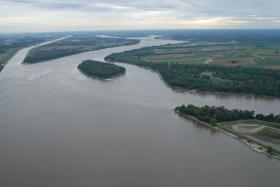 The confluence of the Missouri and Mississippi Rivers.