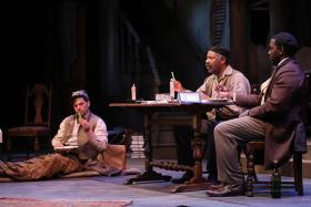 """(l-r) Justin Ivan Brown, Ron Himes, and Ronald L. Connor in the Black Rep's production of """"The Whipping Man""""."""