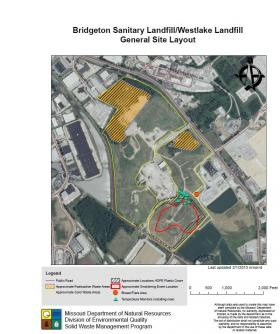 A map showing the various elements involved in the situation at the Bridgeton Landfill.