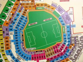 The layout of the soccer pitch inside Busch Stadium.