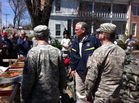MO Governor Jay Nixon speaking with National Guard troops in Clarksville, MO