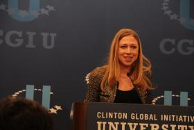 Chelsea Clinton speaks during a CGIU press conference on Saturday, April 6, 2013.