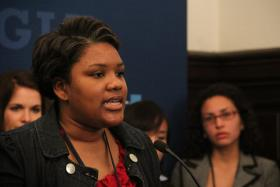 Staci Shelton, a second year student and Air Force veteran studying at the University of Missouri St. Louis, speaks during a CGIU press conference on Saturday, April 6.