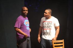 """Ronald Conner (L) and Matthew Galbreath (R) in the Black Rep's """"Smash/Hit""""."""