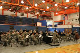 The Air Force Band of Mid-America performs at East St. Louis High School.