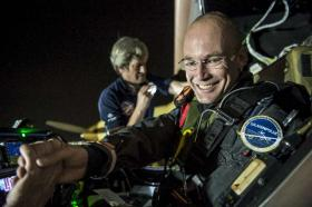 Solar Impulse's pilot Bertrand Piccard prepares for the flight from Dallas to St. Louis and says farewell to pilot on the ground André Borschberg.