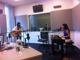 (L to R) Lily and Bella Ibur performing at the St. Louis Public Radio studios.