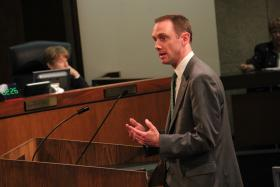 Mo. State Sen. Scott Sifton. (D-Affton) joined several other speakers in voicing concern about a low income housing development for seniors in Oakville