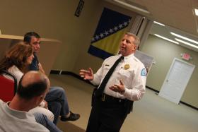 St. Louis Police Chief Sam Dotson speaks at a Bosnian community meeting about crime prevention.