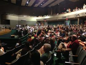 Hundreds of people pack the Pattonville High School auditorium for an update on fire that's burning near radioactive waste buried at the West Lake Landfill.