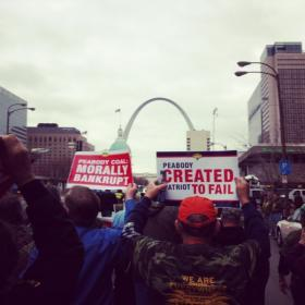 Miners from across the country marching down Market St. in downtown St. Louis on Jan. 29. They protested a Peabody Energy/Patriot Coal plan to cut pension and health care programs following Patriot's bankruptcy.