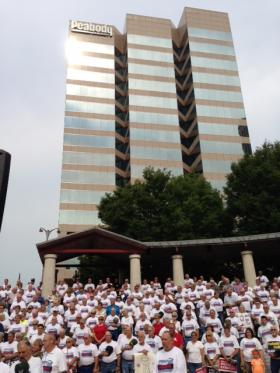 UMWA members rally in front of Peabody's headquarters in St. Louis Tuesday.
