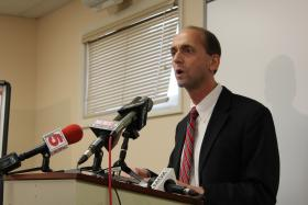 """Missouri Auditor Tom Schweich updates members of the Rockwood School District in Eureka on Aug. 7, 2013, on efforts to improve the """"Fair"""" rating the district received this year. Schweich was pleased and said all of his suggested reforms are either in progress or already implemented."""