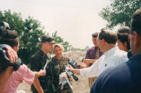 Robert and Christine Hurst give interviews after their wedding on August 9, 1993. The couple had been called up for flood duty with the Missouri National Guard.