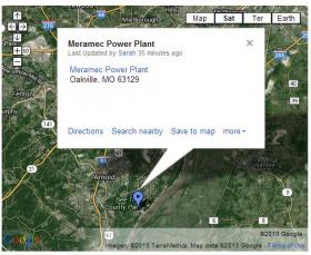 Map showing the location of Ameren's Meramec Power Plant.