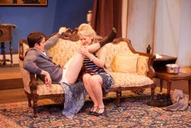 """Hot City's """"Entertaining Mr. Sloane"""" (L to R:  Paul Cereghino, LaVonne Byers)"""