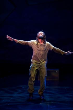 """Omar Edwards as Tap Griot in The Repertory Theatre's production of """"Fly"""","""