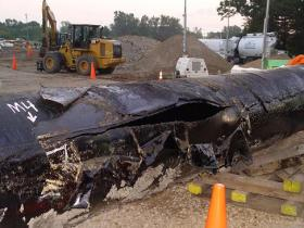 The 80-inch rupture of Enbridge's Line 6B in Marshall, Michigan, was blamed on a faulty internal coating used in the 1960s.