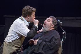 """(L) Aaron Orion Baker and (R) Jason Grubbe in New Jewish Theatre's """"The Good Doctor""""."""