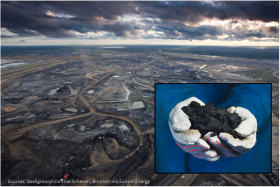 Technically not oil or tar, raw bitumen is a mixture of sand, clay, and water, saturated with a dense and extremely viscous form of petroleum. The industry term, unconventional oil, is attributed to this and any other type of petroleum that can not be extracted using traditional oil well methods. Seen here is a Suncor Energy mining operation in Alberta, Canada.