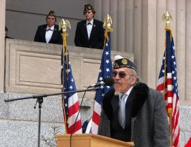 Dennis Charest, executive vice commander of the American Legion's 11th and 12th district of Missouri, speaks at the Soldiers Memorial Military Museum in downtown St. Louis Monday.