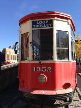 """One of two Peter Witt cars once used in Milan, Italy that the Loop Trolley Company has purchased and renovated. Joe Edwards says both cars are ready to be in service again. """"If there were tracks there right now we could turn the switch on and have the electric go through and they could start going right down the street,"""" Edwards said."""
