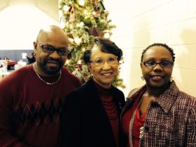Cliff Fields (left), Sherrill Jackson and Sha Fields at a recent Breakfast Club event for cancer survivors