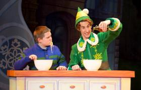 "Connor Barth (L) and Matt Kopec (R) in ""Elf"" at the Fox Theatre."