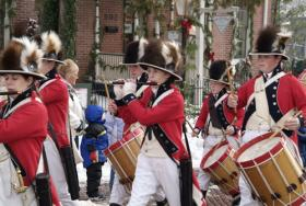 The Lewis & Clark Fife Drum Corps in the Santa Parade, part of Christmas Traditions in St. Charles.