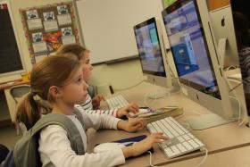 Emma Fischer and Molly Midkiff, both third graders at Reed Elementary School in Ladue, participated in an afterschool program that used Code Red Education's curriculum.