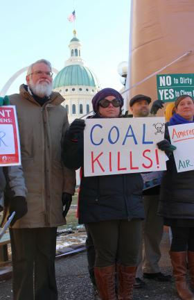 Standing among the crowd, Dr. William Kincaid (left) and Andrea Gross (right) both spoke at the Sierra Club's Beyond Coal Campaign rally in Keiner Plaza.