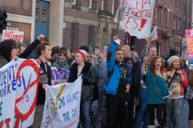 British students continue to protest the high cost of tuition like the Liverpool students pictured here in November, 2010.