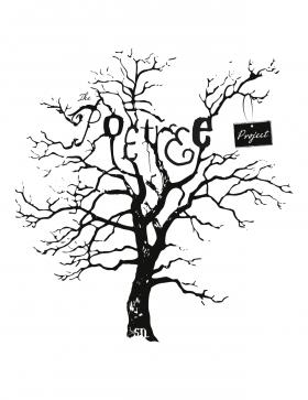 Poetree logo/ barren tree with poem hanging