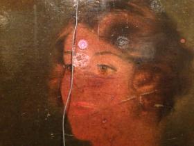 detail of advertising found behind old mirror