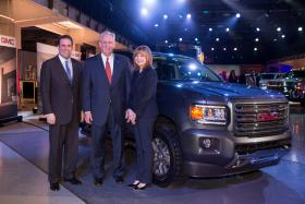Missouri Gov. Jay Nixon joins GM officials at news conference to promote new truck.