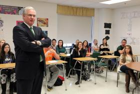 Gov. Jay Nixon talks with students to stress that good schools are vital to Missouri's ability to compete and create jobs in the global economy at Fort Zumwalt North High School in O'Fallon.