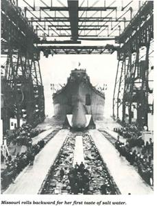 The USS Missouri launches into the sea from the New York Naval Ship Yard on January 29, 1944.