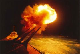 Gun shot off USS Missouri turret #2 during Operation Desert Storm.