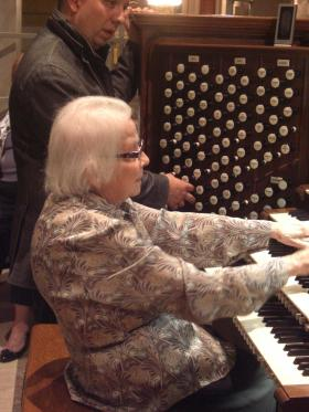 closeup of Sister Padberg at the Kilgen organ