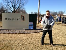 Adam Eidinger is a Monsanto shareholder and proposed a resolution asking the company to support GMO labeling. He participated in the protests outside Monsanto's headquarters.
