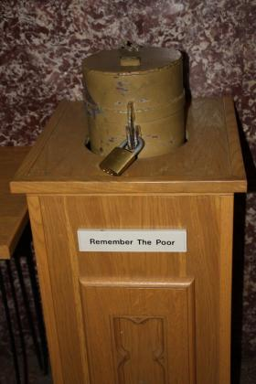 photo of locked poor box from saint francis xavier