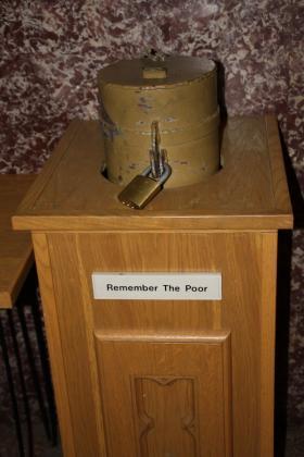 photo of locked poor box from saint francis xavier