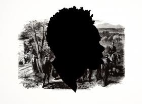 Kara Walker, American, born 1969; Confederate Prisoners Being Conducted from Jonesborough to Atlanta, from the portfolio Harper's Pictorial History of the Civil War (Annotated), 2005; offset lithograph and screenprint; printed and published by LeRoy Neiman Center for Print Studies, Columbia University; 39 x 53 inches; Promised gift of Alison and John Ferring © Kara Walker, 2005