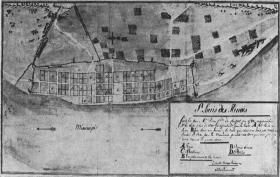 A map of St. Louis in 1780, from archives in Seville, Spain