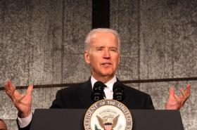 U. S. Vice President Joe Biden makes his remarks after touring the America's Central Port in Granite City, Illinois.
