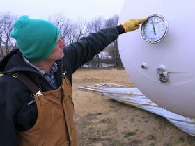 Weeks of subzero temperatures have depleted farmer Phil Borgic's winter supply of liquid propane.