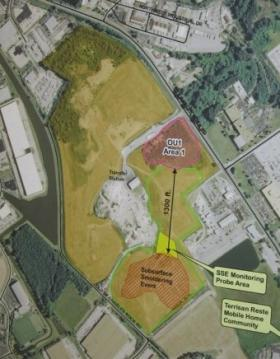 Map of Bridgeton Landfill, with underground smoldering area and radioactive material marked.