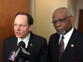 St. Louis Mayor Francis Slay and St. Louis County Executive Charlie Dooley both spoke at symposium.