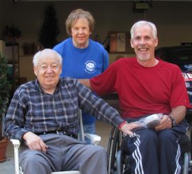 Ed Harper with his wife, Jane, and friend and author Bruce Gamble.